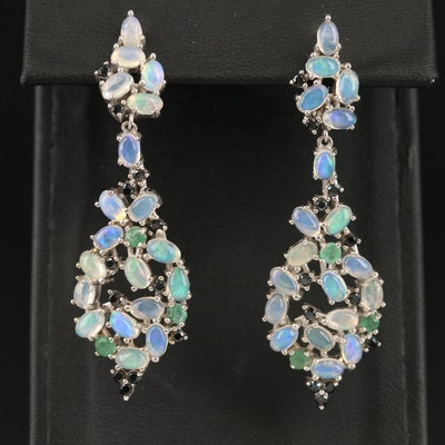 Sterling Opal, Sapphire and Emerald Cluster Drop Earrings