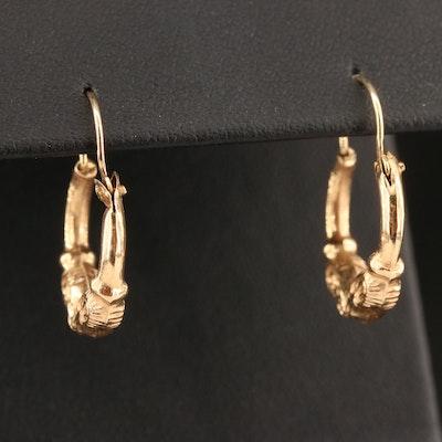 14K Double Ram's Head Hoop Earrings