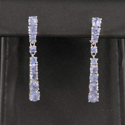 Sterling Silver Tanzanite Graduated Drop Earrings