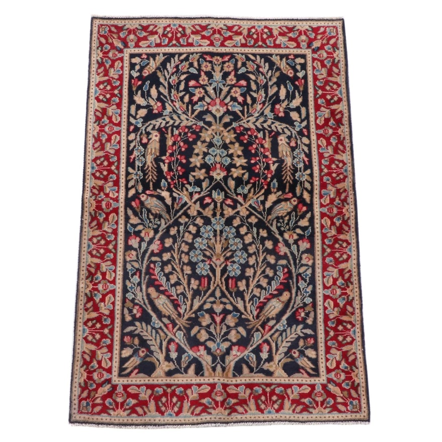 """2'11 x 4'11 Hand-Knotted Persian Tabriz """"Tree of Life"""" Wool Rug"""