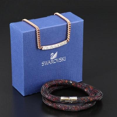"Swarovski Crystal ""Vio"" Pavé Necklace and ""Stardust"" Wrap Bracelet"