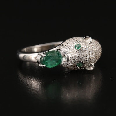 Sterling Silver Emerald and Cubic Zirconia Panther Ring