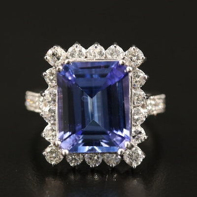 18K 7.06 CT Tanzanite and 1.51 CTW Diamond Ring