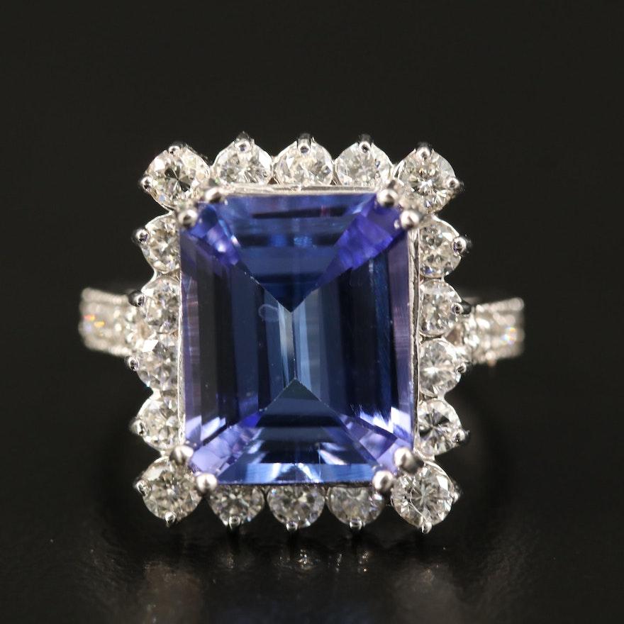 18K 7.06 CT Tanzanite and 1.51 CTW Diamond Ring
