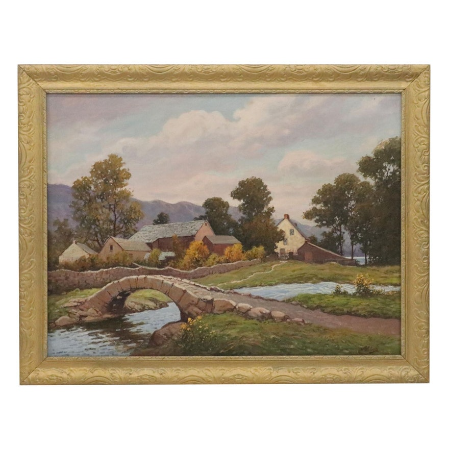 Abraham Atlas Oil Painting of Small Village Landscape, Late 20th Century