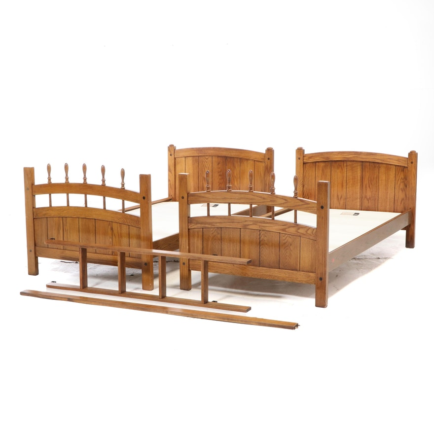 Oak Twin Size Bunk Bed with Ladder and Low Profile Box Springs