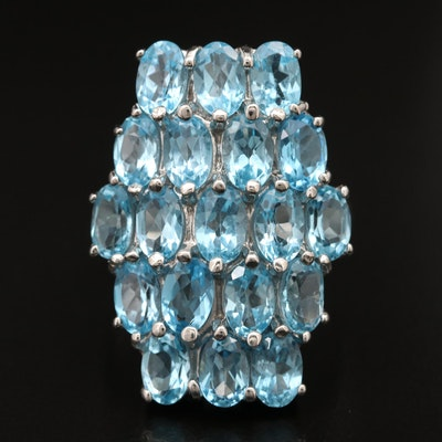 Sterling Topaz Cluster Ring