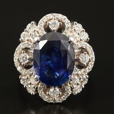 18K Ceylon Sapphire and 1.04 CTW Diamond Ring with GIA Report