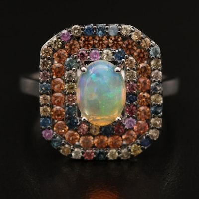 Sterling Opal and Sapphire Ring with Triple Halo