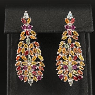 Sterling Silver Sapphire, Garnet and Aquamarine Earrings