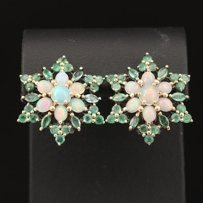 Sterling Silver Opal and Emerald Star Earrings