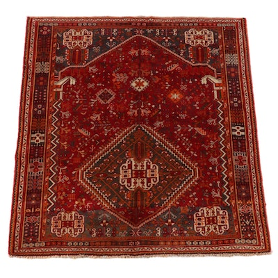 5'3 x 5'10 Hand-Knotted Persian Qashqai Wool Area Rug