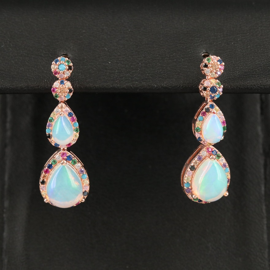 Sterling Silver Opal, Spinel and Cubic Zirconia Drop Earrings