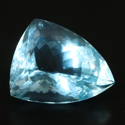 Loose 92.82 CT Triangular Brilliant Aquamarine with GIA Report