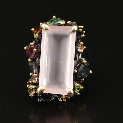 Sterling Silver Rose Quartz, Citrine and Tourmaline Rectangular Ring