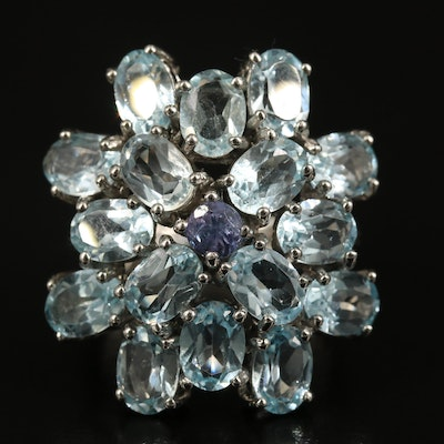 Sterling Topaz and Tanzanite Cluster Ring