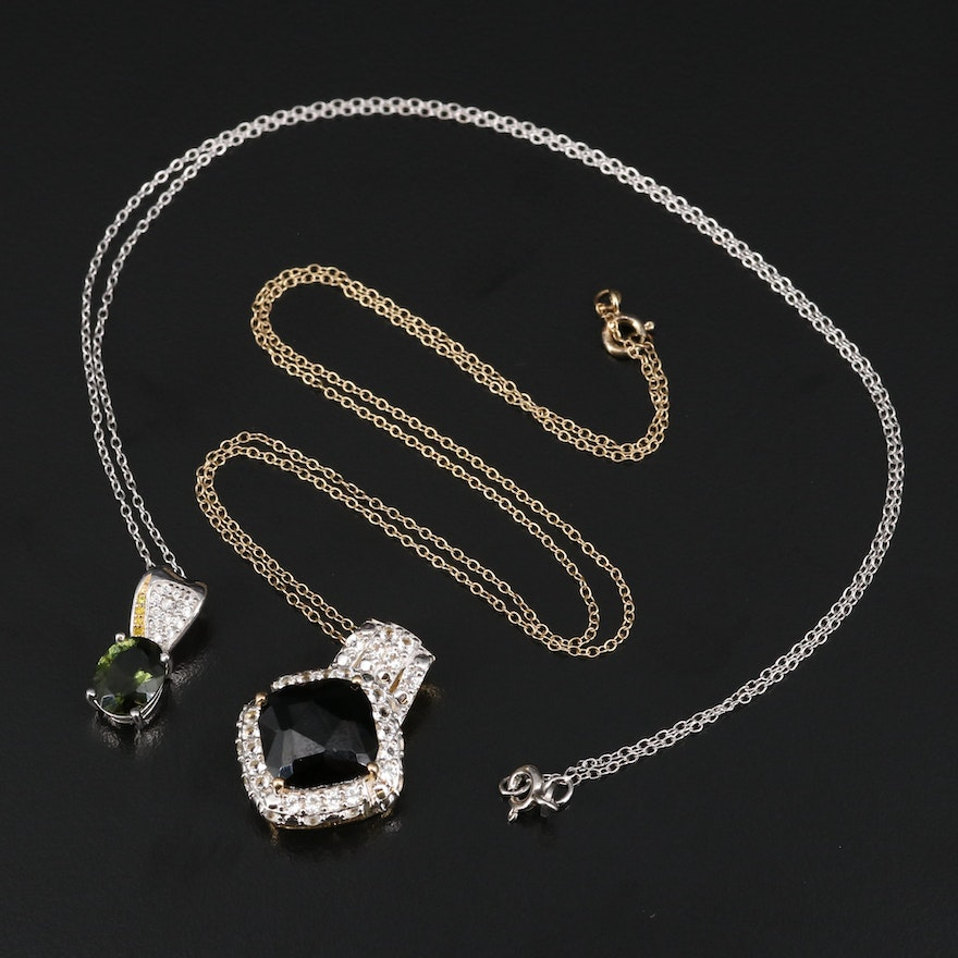 Sterling Necklaces Featuring Spinel, Topaz and Moldavite Necklaces