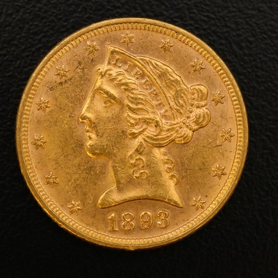 1893 Liberty Head $5 Gold Half Eagle