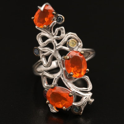 Sterling Silver Opal, Ruby and Sapphire Openwork Ring