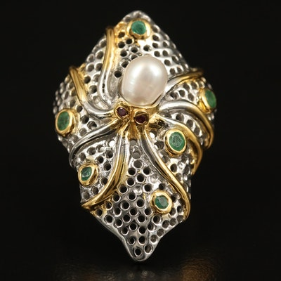 Sterling Pearl and Emerald Octopus Ring