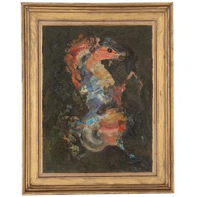 Pietro Lazzari Mixed Media Painting of Horse, Mid-20th Century