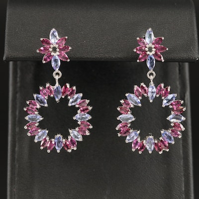 Sterling Silver Tanzanite and Garnet Circle Dangle Earrings