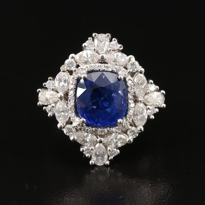 18K 3.26 CTW Sri Lankan Sapphire and 1.36 CTW Diamond Ring with GIA Report