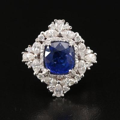 18K 3.26 CTW Sri Lankan Sapphire and 1.36 CTW Diamond Ring with GIA Report