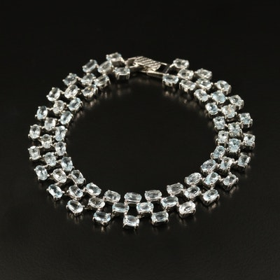 Sterling Aquamarine Triple Row Bracelet