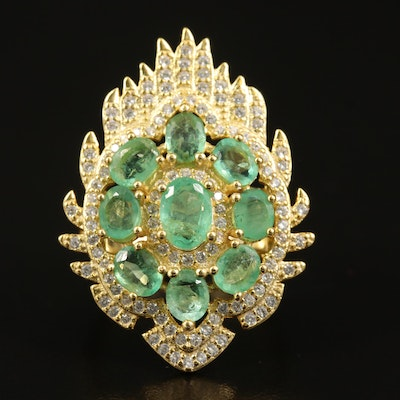 Sterling Silver Emerald and Cubic Zirconia Cluster Ring