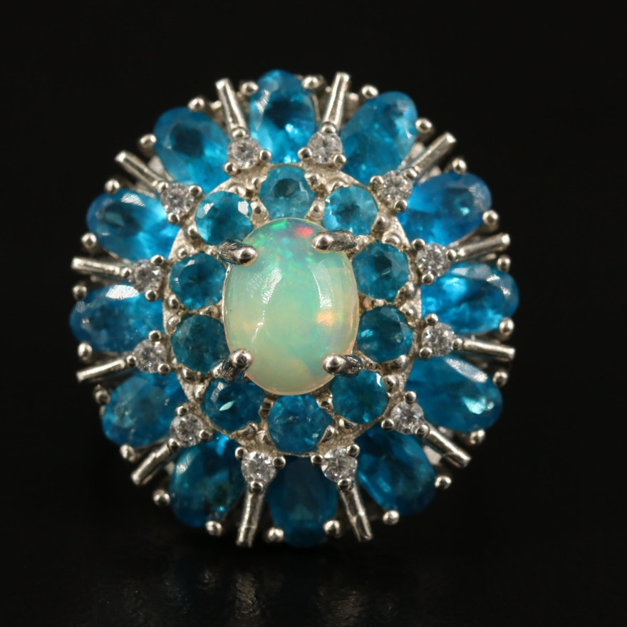 Sterling Silver Opal, Apatite and Cubic Zirconia Cluster Ring
