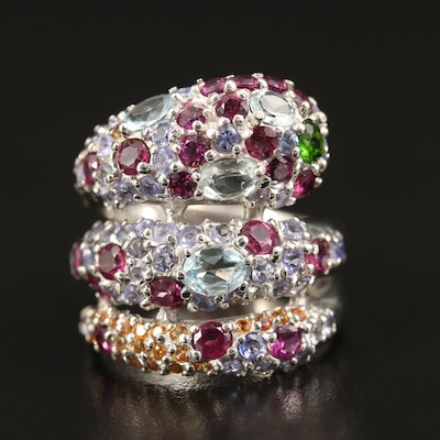 Sterling Silver Garnet, Goshenite and Diopside Snake Bypass Ring