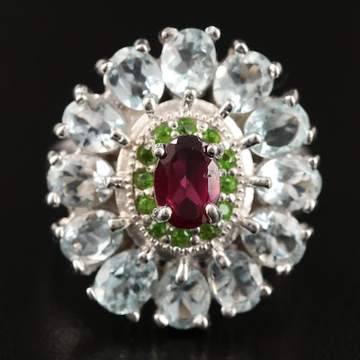 Sterling Silver Garnet, Diopside and Gaspeite Ring