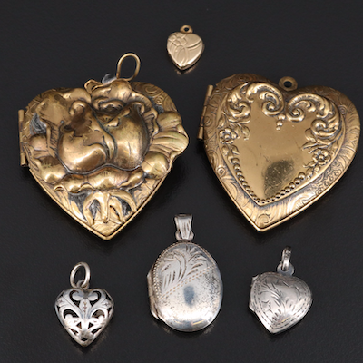 Vintage Lockets and Pendants Featuring Sterling Silver