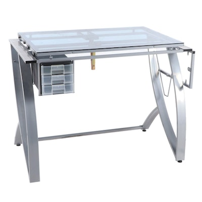 Contemporary Glass Top Drafting Table with Metal Base