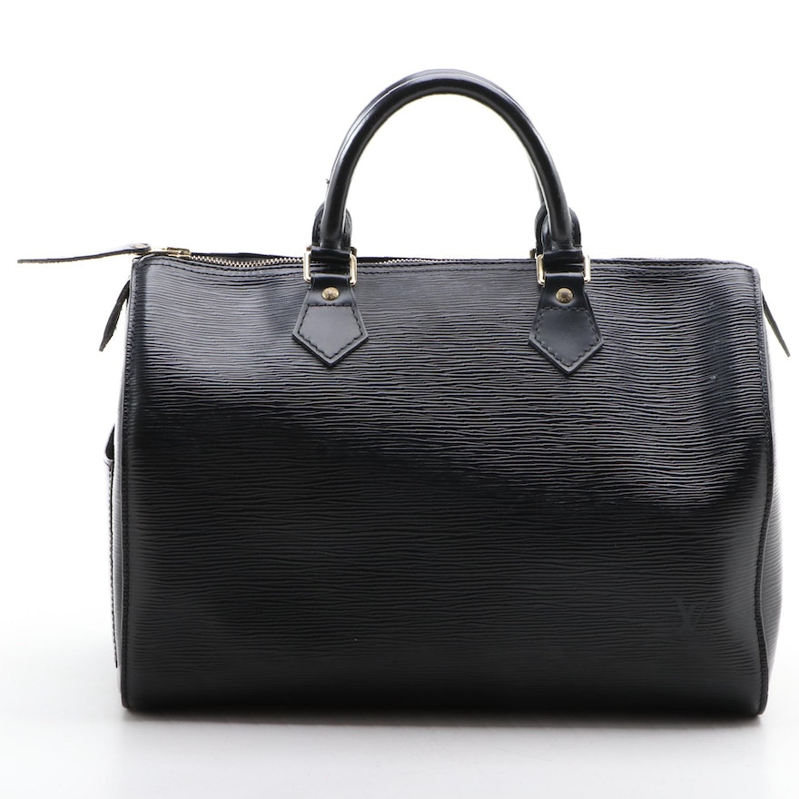Louis Vuitton Speedy 30 in Black Epi Leather with Smooth Leather Trim