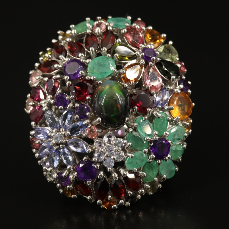 Sterling Opal and Gemstone Dome Flower Cluster Ring