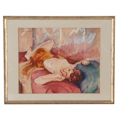 John Lavalle Watercolor Painting of Reclining Figure, 1931