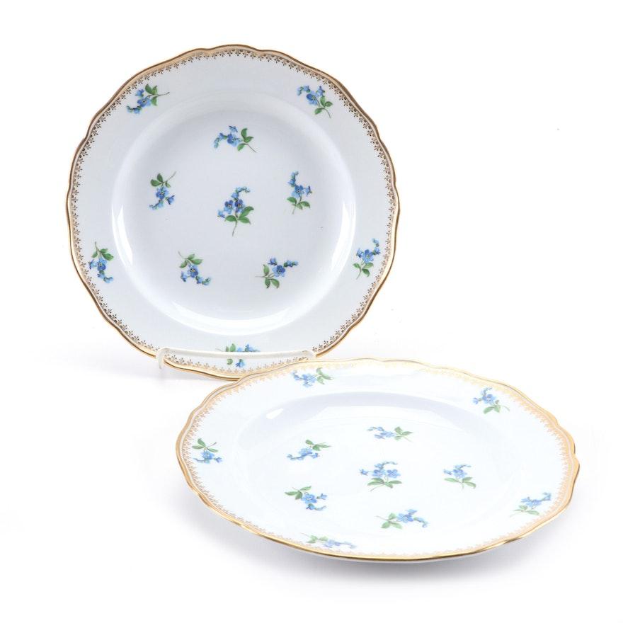 Meissen Blue Floral with Gilt Filigree Porcelain Salad Plates