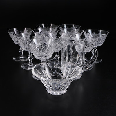 "Waterford Crystal ""Dunmore"" Sherbet Glasses with ""Lismore"" Creamer and Bowl"