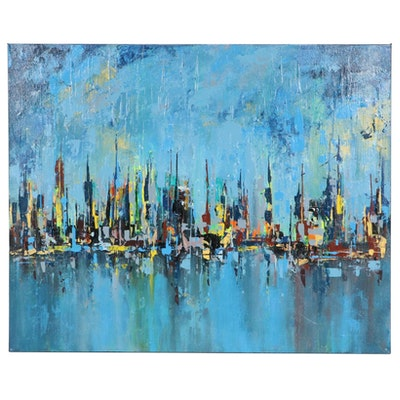 "Farshad Lanjani Acrylic Painting ""The City,"" 21st Century"