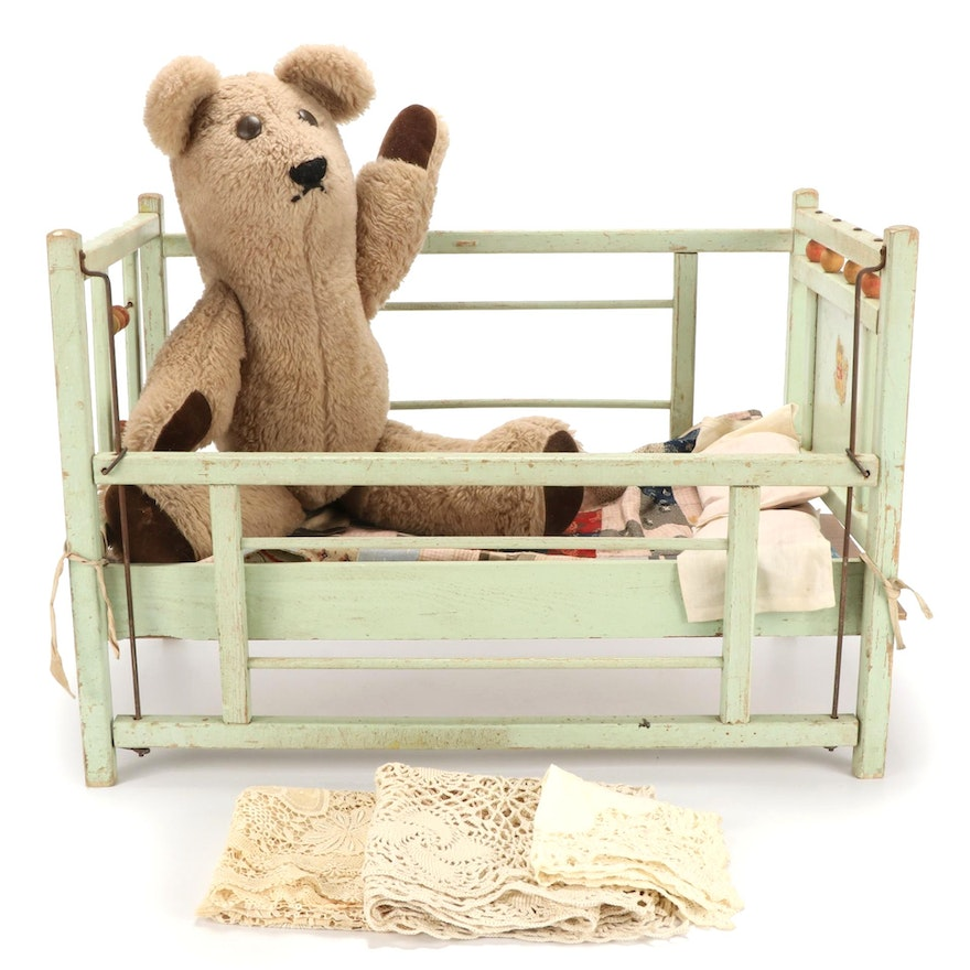 Doll Crib with Handmade Quilt, Stuffed Bear, and Lace Tabletop Textiles