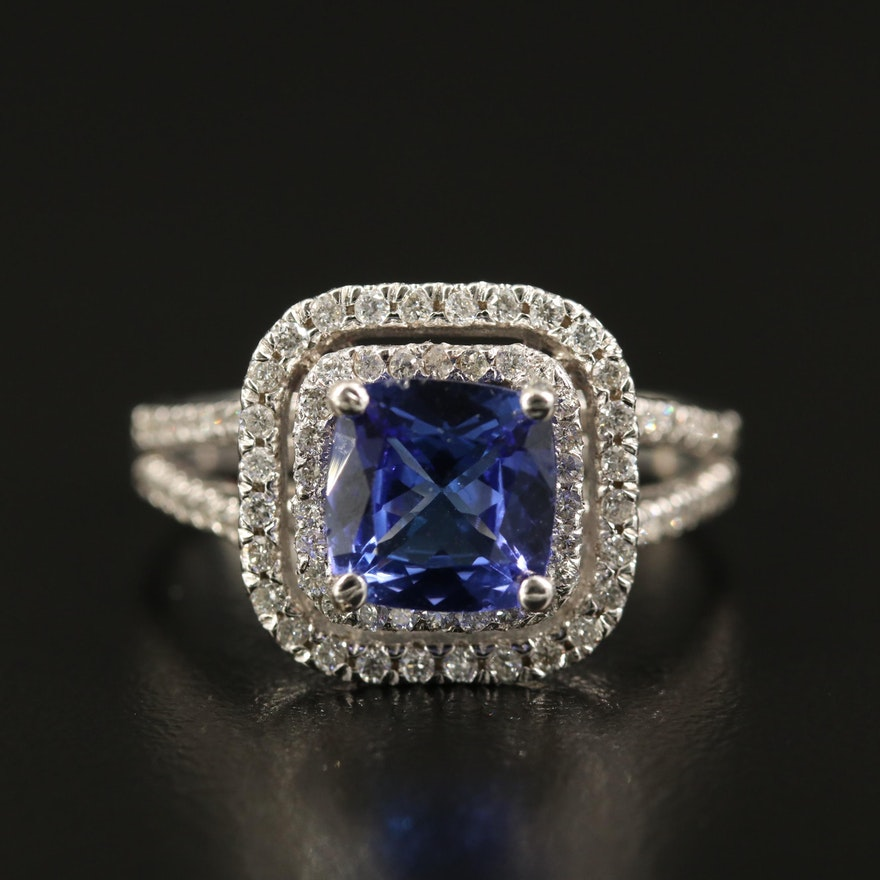 14K 1.76 CT Tanzanite and Diamond Double Halo Cathedral Ring