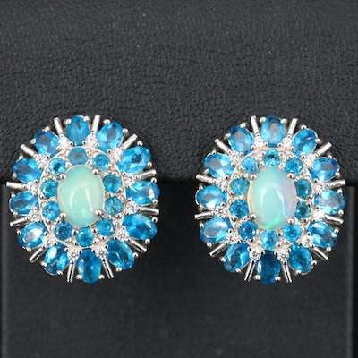 Sterling Silver Opal, Apatite and Cubic Zirconia Cluster Earrings