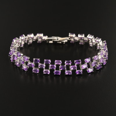 Sterling Silver Three Row Amethyst Link Bracelet