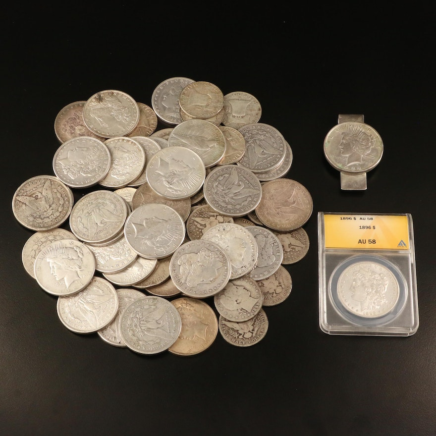 ANACS Graded AU58 1896 Morgan Silver Dollar and Other Silver Coins