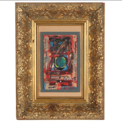 Abstract Mixed Media Oil Painting, Late 20th Century