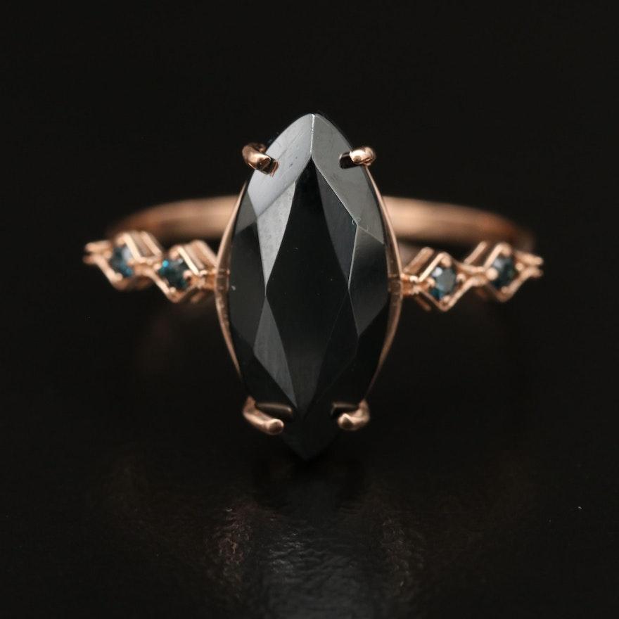 14K Hematite Ring with Diamond Accents