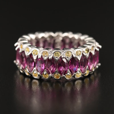 Sterling Silver Garnet and Sapphire Eternity Band