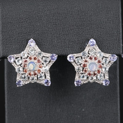 Sterling Silver Opal, Tanzanite and Topaz Star Earrings